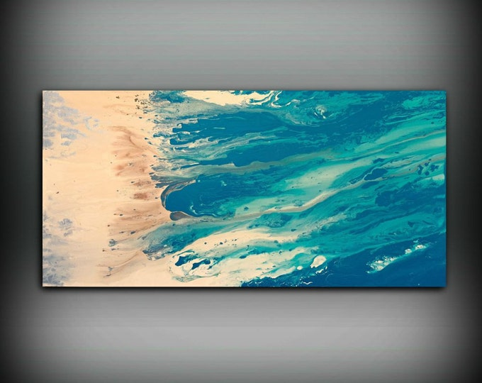 "Beach Coastal Painting 24"" x 48"", Acrylic Painting on Canvas, Abstract Painting, Contemporary Art, Large Wall Art, By L Dawning Scott"