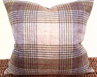 "16"" Torrin Plaid Grape 100% Wool Luxurious Tartan Tweed Cushion Cover Fabric by Moon for M&S and Art of the Loom Herringbone"