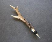 Roe Deer Antler Wine Stopper.  Silver Chrome Bottle Stop Handmade Natural Real Cast Antler