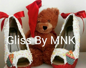 Red glitter Valentine's day gift to her shoes high heels women's shoes UK size 5 ( EU 38) custom made SALE!!!!!