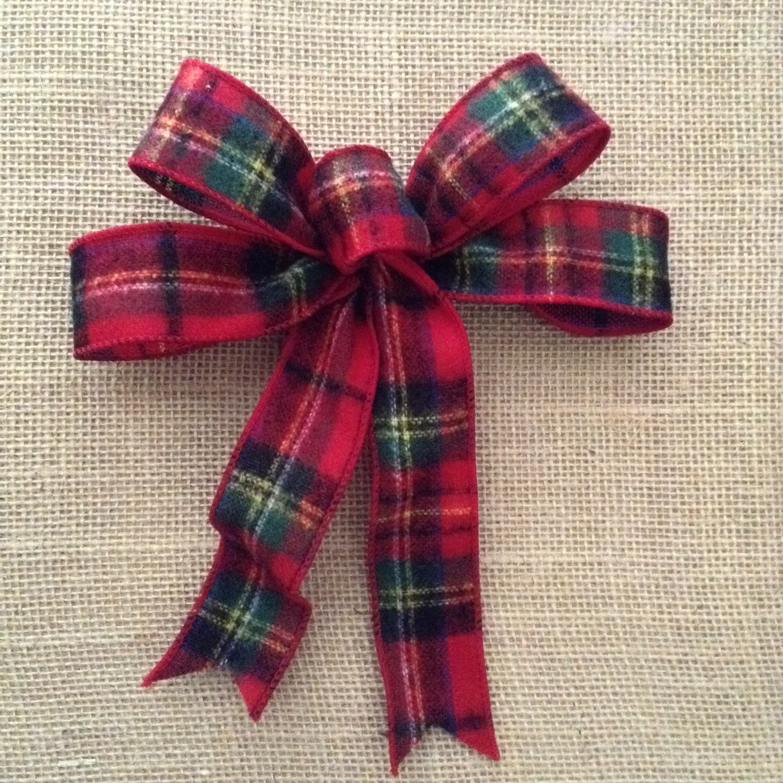 Christmas Plaid Bows Decorative Xmas Wool Bows By