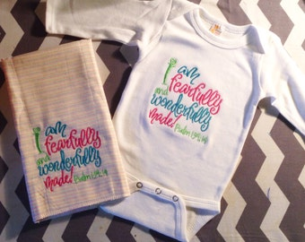Bible Verse Onesie and Matching Burp Cloth