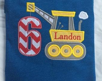 Boys Appliquéd Construction Crane Birthday Shirt