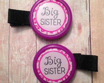 2 big sister hair clips (partially lined alligator clips with no slip grip) -- approx. 2 inches across