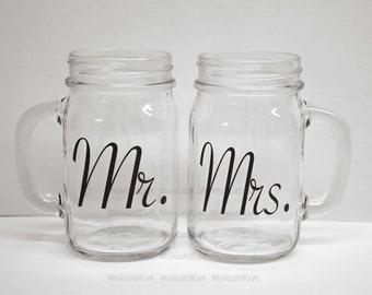 Mr and Mrs mason jar mugs, mason jar wedding gift, for the bride and groom, country wedding mason jar, rustic wedding mason jars, SET OF 2