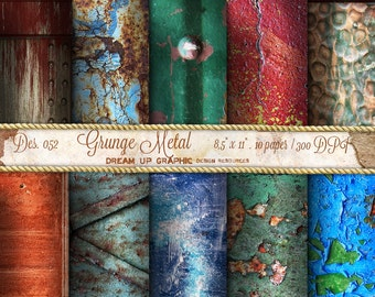 "Rusty Digital paper ""GRUNGE METAL"" Decorated Metal digital paper, pattern  - Rusted metal paper. Grungy backgrounds Des. 052 - Grunge Metal"