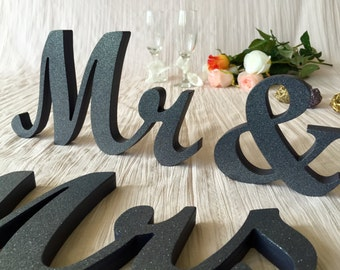 """4"""" Mr & Mrs, 5"""" Mr and Mrs wooden letters, 6"""" Wodden Mr and Mrs, 7"""" Mrs and Mr sign,  Glitter, Gold, Silver, Royal Blue Glitter wedding sign"""