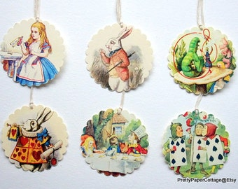 Alice in Wonderland Tags, Mad Hatter, Tea Party, Bridal Shower, Baby Shower, Birthday Party, Set of 6 or 12