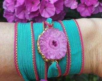Solar quartz silk hand painted wrap bracelet
