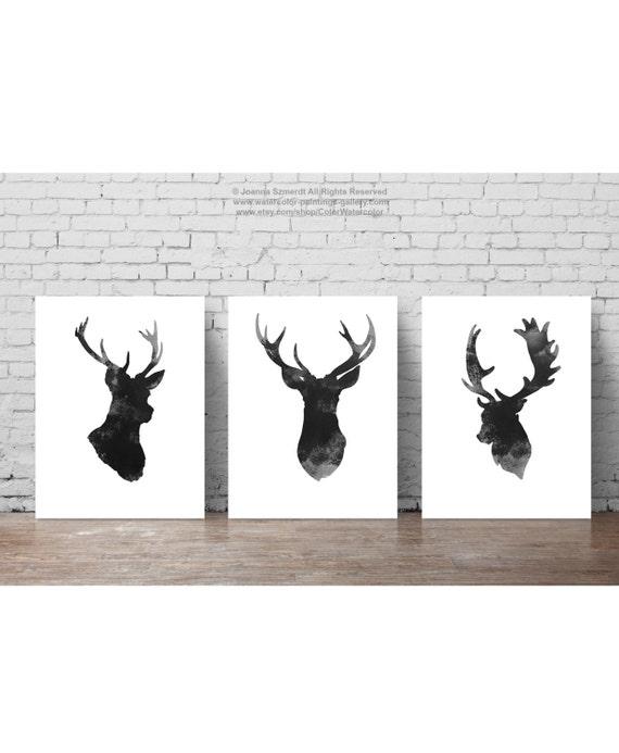 T te de cerf lot de 3 minimaliste gris dessin noir bois - Tete de chevreuil decoration ...
