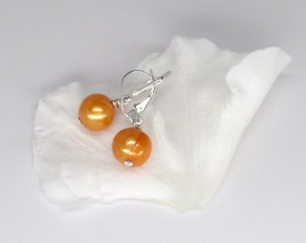 orange pearl earrings, round deep orange pearl earrings with silver lever backs, silver pearl earrings, June birthstone earrings