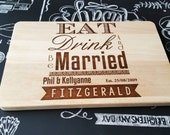 Eat Drink and Be Married Personalised Cutting Chopping Board - Laser Engraved -  Wedding Or Anniversary - Ideal Gift! UK