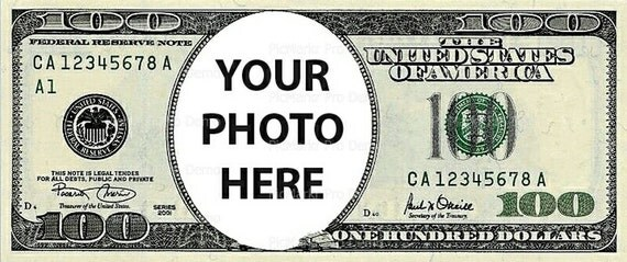 100 Dollar Bill - Edible Cake and Cupcake Photo Frame For Birthday's and Parties! - D20371