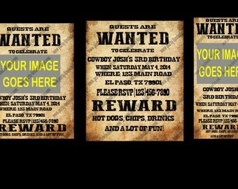 10 Western Cowboy Wanted Poster Invitations