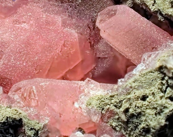 Lovely Pink Prismatic Rhodochrosite Crystals on Matrix