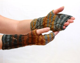 SALE Striped Long Knit Fingerless Gloves Mittens brown blue arm wrist warmers