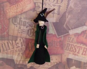Professor McGonagall Clothespin Doll Ornament