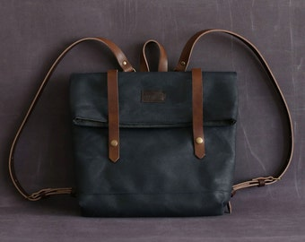 Waxed canvas backpack JUDITH blue navy