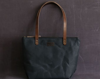 Waxed canvas tote bag NICOLE blue navy