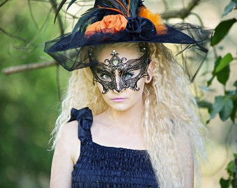 Orange and Purple Halloween Gothic Style Witch Hats ~ Medieval ~ Steampunk Evil Costume