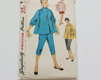 Vintage 1950s Simplicity 1027 Bust 30 Maternity Womens Blouse Shorts Pants Pattern