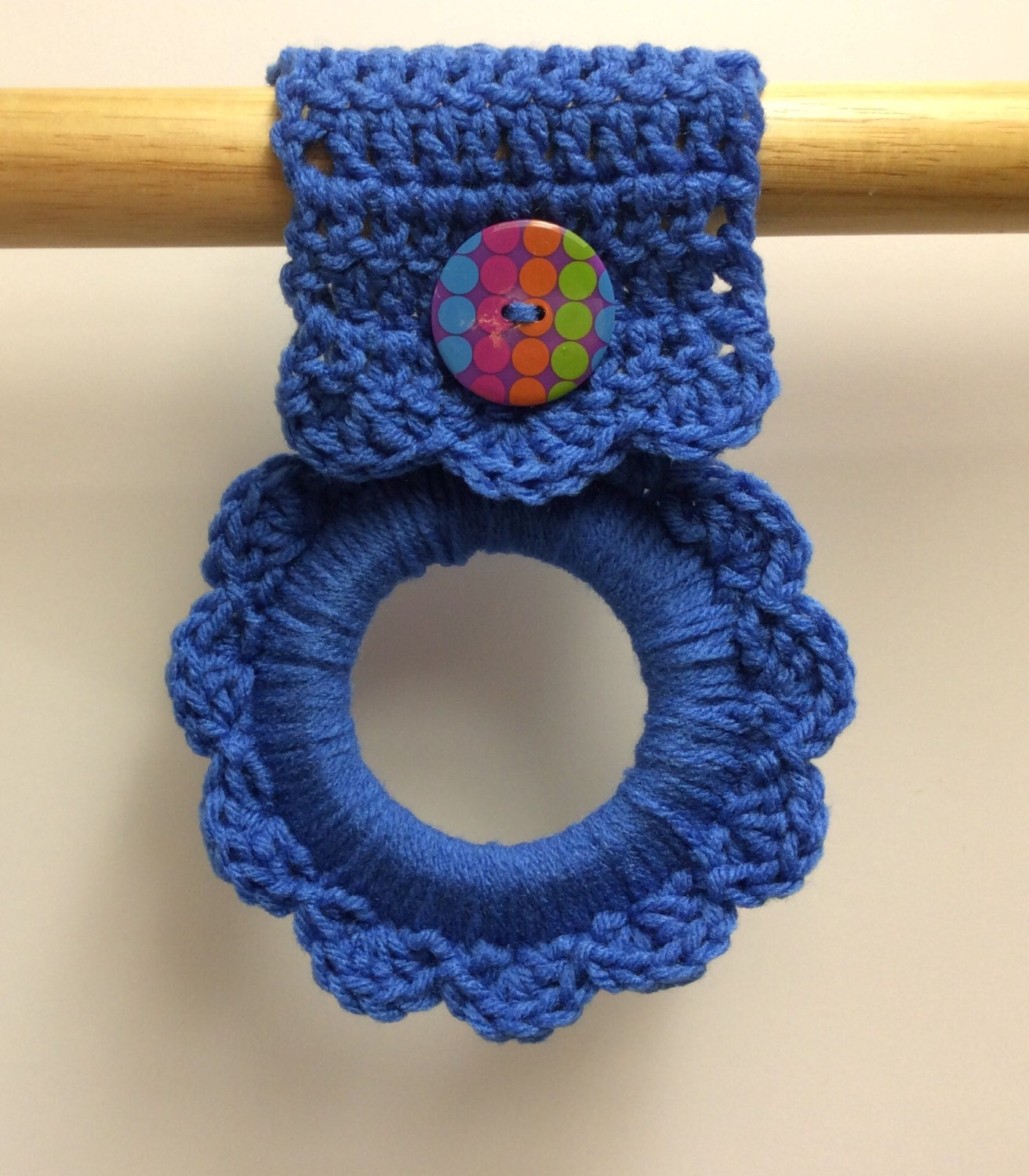 Blue Kitchen Towel Hanger Crochet Towel Hanger Button Towel