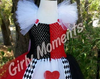 Black, Red and White Heart Tutu Dress Fit For A Queen