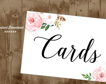 Pink Blush Vintage Flowers Roses CARDS Printable 5x7 Sign