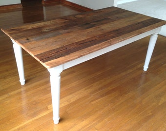 Farm Dining Table, Handmade Reclaimed Chestnut, Custom Sizes And Colors