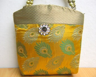 Handbag /colorful bag / purse /fabric bag/ wristlet/ party bag/ yellow purse/  gift item.