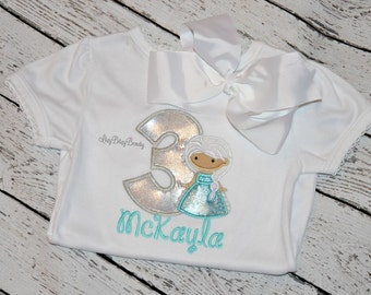 Girls birthday ANY NUMBER age shirt with ice princess metallic shiny birthday outfit silver blue