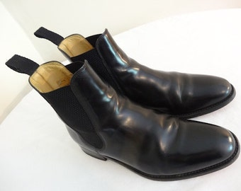 Mens Black Leather Ankle Boots Made In England By 'Charles Tyrwhitt' - Size 7