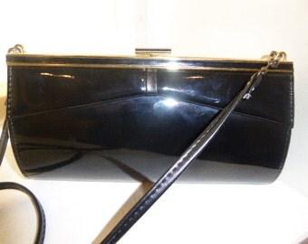 Vintage 1970's Black Patent Handbag / ShoulderBag - Long Detachable Strap - Nice!!