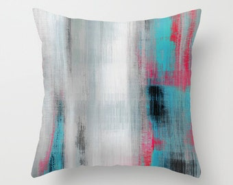 Throw Pillow Cover Decorative Pillow Cover Art Pillow Case Aqua Pink Grey Black White Home Decor