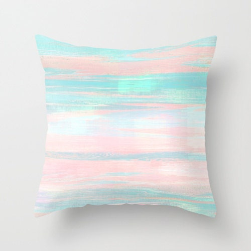 PASTEL THROW PILLOW COVER ABSTRACT MODERN PRINT PINK, PEACH, AQUA, MINT  GREEN HOME DECOR LIVING ROOM BEDROOM ACCESSORIES CUSHION On The Hunt