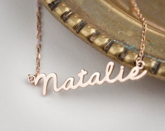 Personalized name necklace, Personalized script necklace, Baby name necklace jewelry, solid 14k gold, rose gold, white gold, scr-n101
