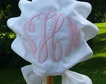 Monogrammed White Baby Bonnet with button on back, white piping, heirloom hat