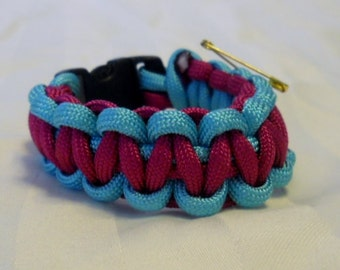 Fuschia Pink and Sky Blue 6 Inch Paracord Bracelet Item
