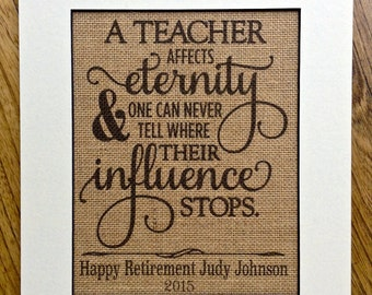 Teacher retirement gift, burlap print, personalized gift, teacher gift, back to school