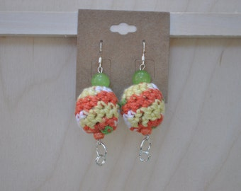 Earrings - Beaded Jewelry - Orange, Yellow, Green and White - Crochet