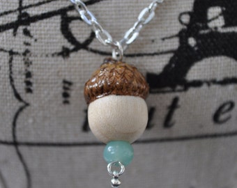 Silver Necklace - Acorn Jewelry - Blue