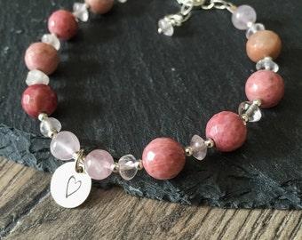 Heart Bracelet, Rhodonite Bracelet, Rose Quartz Bracelet, Pink Bracelet, Gemstone Bracelet, new
