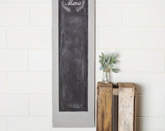 Newly Refurbished French Provincial Vintage Chalkboard Sign Painted Grey and Lightly Distressed