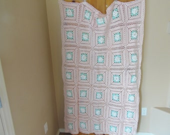 Pink Crochet Afghan with White Flowers in each square