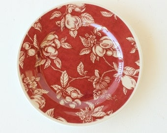 Waverly Garden Room Fruit Toile, Colombia, Plate, Red, Maroon, Salad Plate
