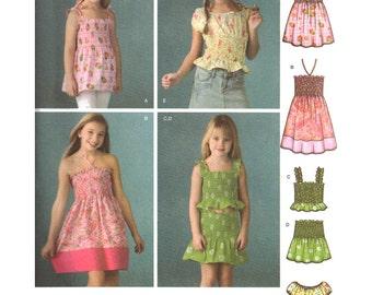 Simplicity Sewing Pattern 3770 Girls' Dress, Tunic, Tops, Skirt - instructions for pre-shirred fabric Size:  K5  7-8-10-12-14  Uncut