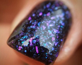 Enchanting~Sheer'OMagic Collection Indie Nail Polish Chameleon Flakes Color Blue Teal Pink Purple 10ML