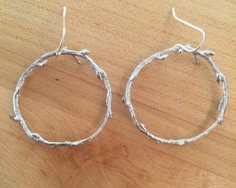 Vine hoop earrings,unique,simple,gifts for her,silver earrings, dangling,dainty,hoop jewelry