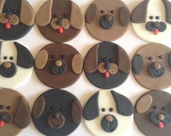 12 Dog Fondant Cupcake Toppers