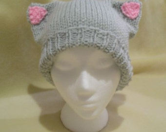 Handknit Grey Kitty Cat Hat with Pink Ears